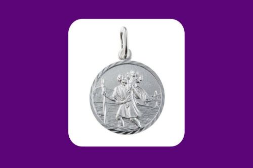 Saint Christopher Pendant Sterling Silver 925 Hallmark 23mm All Chain Lengths